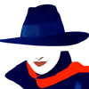 Silver Shade icon, depicting a stylized woman in black fedora and coat with red lipstick and scarf